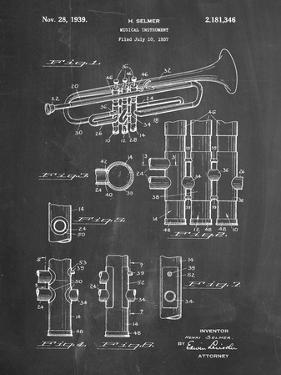 PP141- Chalkboard Selmer 1939 Trumpet Patent Poster by Cole Borders
