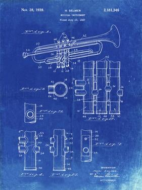 PP141- Faded Blueprint Selmer 1939 Trumpet Patent Poster by Cole Borders