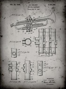 PP141- Faded Grey Selmer 1939 Trumpet Patent Poster by Cole Borders