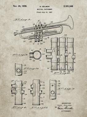 PP141- Sandstone Selmer 1939 Trumpet Patent Poster by Cole Borders