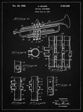 PP141- Vintage Black Selmer 1939 Trumpet Patent Poster by Cole Borders
