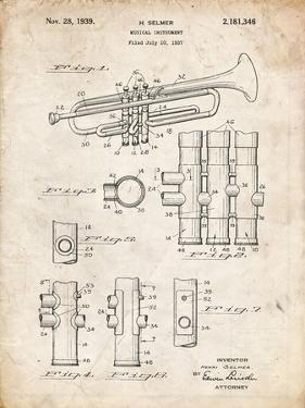 PP141- Vintage Parchment Selmer 1939 Trumpet Patent Poster by Cole Borders