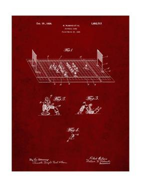 PP142- Burgundy Football Board Game Patent Poster by Cole Borders