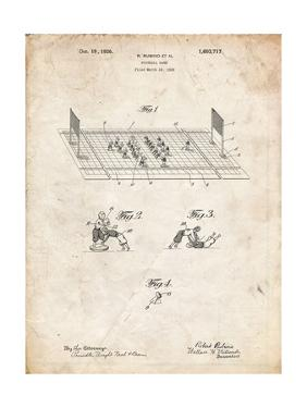 PP142- Vintage Parchment Football Board Game Patent Poster by Cole Borders