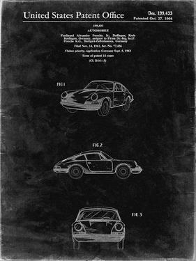 PP144- Black Grunge 1964 Porsche 911  Patent Poster by Cole Borders