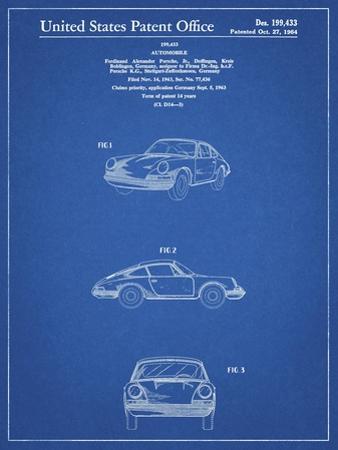 PP144- Blueprint 1964 Porsche 911  Patent Poster by Cole Borders