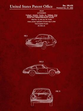 PP144- Burgundy 1964 Porsche 911  Patent Poster by Cole Borders