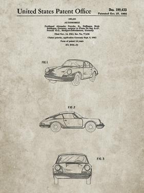 PP144- Sandstone 1964 Porsche 911  Patent Poster by Cole Borders