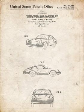 PP144- Vintage Parchment 1964 Porsche 911  Patent Poster by Cole Borders