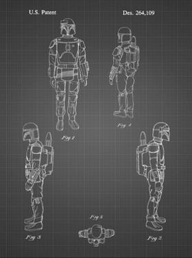 PP145- black grid Star Wars Boba Fett 4 Image Patent Poster by Cole Borders