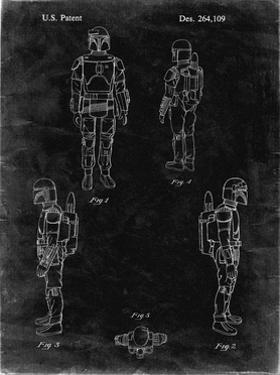 PP145- Black grunge Star Wars Boba Fett 4 Image Patent Poster by Cole Borders