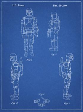 PP145- Blueprint Star Wars Boba Fett 4 Image Patent Poster by Cole Borders