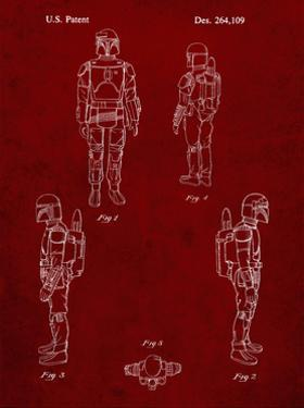 PP145- Burgundy Star Wars Boba Fett 4 Image Patent Poster by Cole Borders