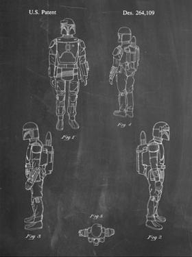 PP145- Chalkboard Star Wars Boba Fett 4 Image Patent Poster by Cole Borders