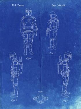 PP145- Faded Blueprint Star Wars Boba Fett 4 Image Patent Poster by Cole Borders