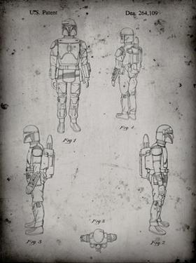 PP145- Faded Grey Star Wars Boba Fett 4 Image Patent Poster by Cole Borders