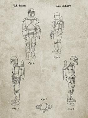 PP145- Sandstone Star Wars Boba Fett 4 Image Patent Poster by Cole Borders