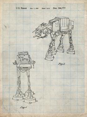 PP146- Antique Grid Parchment Star Wars AT-AT Imperial Walker Patent Poster by Cole Borders