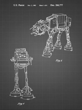 PP146- Black Grid Star Wars AT-AT Imperial Walker Patent Poster by Cole Borders