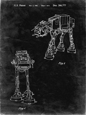 PP146- Black Grunge Star Wars AT-AT Imperial Walker Patent Poster by Cole Borders