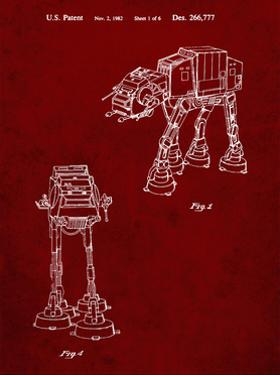 PP146- Burgundy Star Wars AT-AT Imperial Walker Patent Poster by Cole Borders