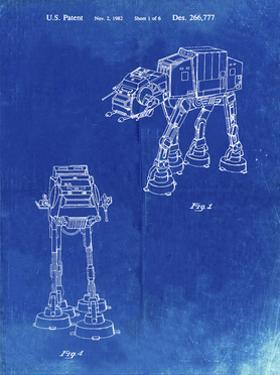 PP146- Faded Blueprint Star Wars AT-AT Imperial Walker Patent Poster by Cole Borders
