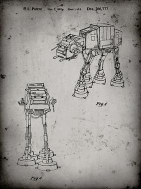 PP146- Faded Grey Star Wars AT-AT Imperial Walker Patent Poster by Cole Borders