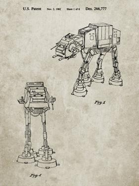 PP146- Sandstone Star Wars AT-AT Imperial Walker Patent Poster by Cole Borders