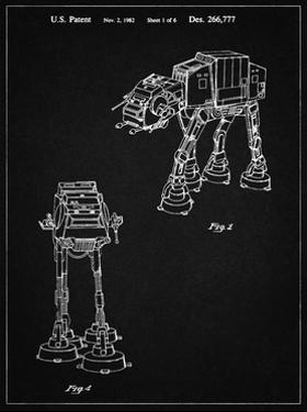 PP146- Vintage Black Star Wars AT-AT Imperial Walker Patent Poster by Cole Borders