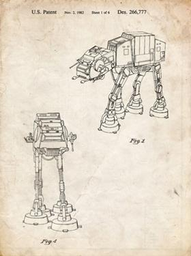PP146- Vintage Parchment Star Wars AT-AT Imperial Walker Patent Poster by Cole Borders