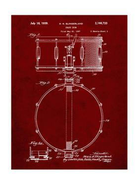 PP147- Burgundy Slingerland Snare Drum Patent Poster by Cole Borders