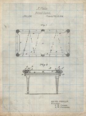 PP149- Antique Grid Parchment Pool Table Patent Poster by Cole Borders
