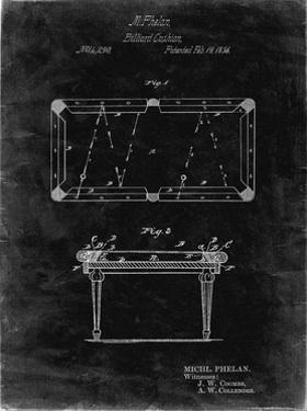 PP149- Black Grunge Pool Table Patent Poster by Cole Borders