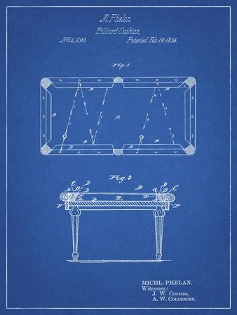 PP149- Blueprint Pool Table Patent Poster