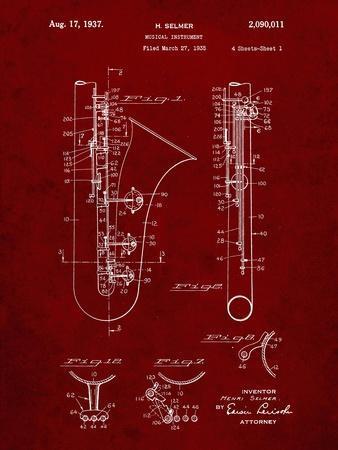 PP156- Burgundy Selmer 1937 Saxophone Poster