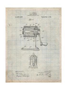 PP162- Antique Grid Parchment Pencil Sharpener Patent Poster by Cole Borders