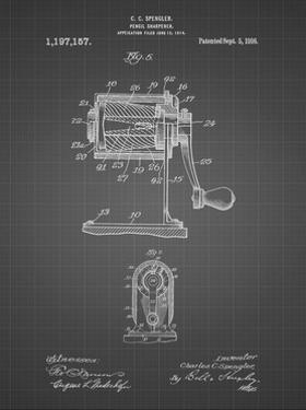 PP162- Black Grid Pencil Sharpener Patent Poster by Cole Borders