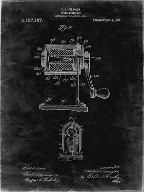 PP162- Black Grunge Pencil Sharpener Patent Poster by Cole Borders