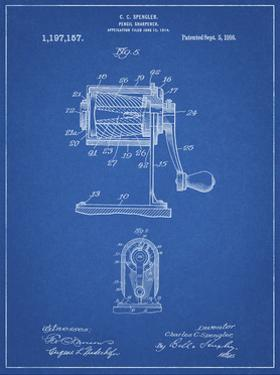 PP162- Blueprint Pencil Sharpener Patent Poster by Cole Borders