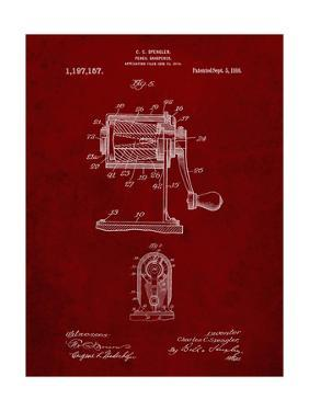 PP162- Burgundy Pencil Sharpener Patent Poster by Cole Borders