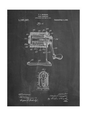 PP162- Chalkboard Pencil Sharpener Patent Poster by Cole Borders