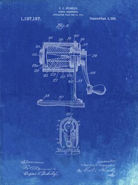 PP162- Faded Blueprint Pencil Sharpener Patent Poster by Cole Borders