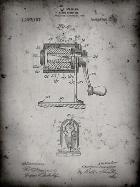 PP162- Faded Grey Pencil Sharpener Patent Poster by Cole Borders