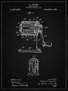 PP162- Vintage Black Pencil Sharpener Patent Poster by Cole Borders
