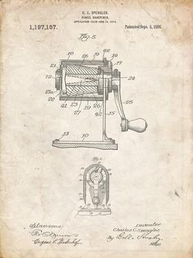 PP162- Vintage Parchment Pencil Sharpener Patent Poster by Cole Borders