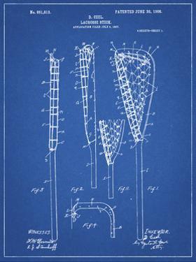PP166- Blueprint Lacrosse Stick Patent Poster by Cole Borders