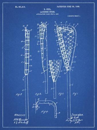 PP166- Blueprint Lacrosse Stick Patent Poster