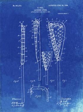 PP166- Faded Blueprint Lacrosse Stick Patent Poster by Cole Borders