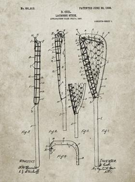PP166- Sandstone Lacrosse Stick Patent Poster by Cole Borders