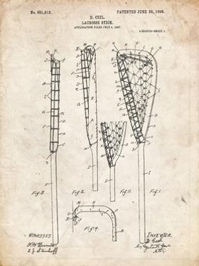 PP166- Vintage Parchment Lacrosse Stick Patent Poster by Cole Borders